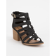QUPID Caged Black Womens Heeled Sandals