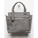 VIOLET RAY Amber Perforated Charcoal Satchel Purse