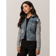 SKY AND SPARROW French Terry Sleeve Womens Ripped Denim Jacket