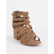 QUPID Caged Tan Womens Heeled Sandals