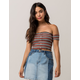 SKY AND SPARROW Ribbed Off The Shoulder Womens  Crop Top