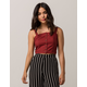 SKY AND SPARROW Button Front Burgundy Womens Crop Cami