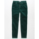 RSQ Ibiza Exposed Button Corduroy Girls Green Skinny Jeans