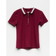 Ribbed Zip Front Girls Polo Shirt