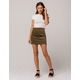 SKY AND SPARROW Seamed Olive Corduroy Skirt