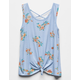WHITE FAWN Floral Cross Back Girls Tank Top