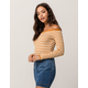 SKY AND SPARROW Marilyn Mustard Womens Off The Shoulder Top