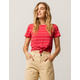 FULL TILT Stripe Knot Front Red Womens Tee