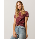FULL TILT Stripe Knot Front Burgundy Womens Tee