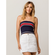 FULL TILT Ribbed Stripe Navy Womens Tube Top