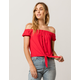 SKY AND SPARROW Tie Front Red Womens Off The Shoulder Top