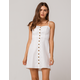 SOCIALITE Linen Button Front White Structured Dress