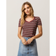 SKY AND SPARROW Ribbed V-Neck Burgundy Womens Crop Tee