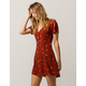 SKY AND SPARROW Floral Button Front Rust Dress