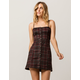 CHLOE & KATIE Plaid Button Front Structured Dress