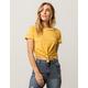 FULL TILT Stripe Knot Front Mustard Womens Tee
