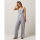 SKY AND SPARROW Stripe Button Front Womens Jumpsuit