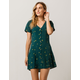 SKY AND SPARROW Floral Button Front Emerald Dress