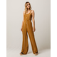 SKY AND SPARROW Button Front Womens Jumpsuit