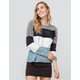 POOF Color Block Chenille Blue Womens Sweater