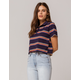 FULL TILT Stripe Navy Crop Polo Tee