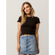 HEART & HIPS Ribbed Lettuce Edge Black Womens Crop Tee