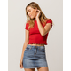 HEART & HIPS Ribbed Lettuce Edge Red Womens Crop Tee