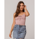 HEART & HIPS Lace Up Mauve Womens Crop Cami