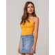 HEART & HIPS Lace Up Mustard Womens Crop Cami
