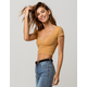BOZZOLO Ruched Mustard Womens Crop Tee