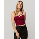 BOZZOLO Ribbed Criss Cross Wine Womens Crop Cami