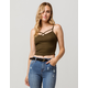 BOZZOLO Ribbed Criss Cross Olive Womens Crop Cami