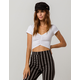 BOZZOLO Ruched White Womens Crop Tee