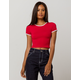 BOZZOLO Varsity Stripe Dark Red Womens Ringer Crop Tee