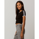 BOZZOLO Varsity Stripe Black Womens Ringer Crop Tee