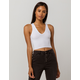 DESTINED Ribbed V-Neck White Womens Crop Tank Top
