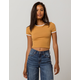 BOZZOLO Varsity Stripe Honey Womens Ringer Crop Tee