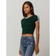 BOZZOLO Varsity Stripe Dark Green Womens Ringer Crop Tee