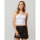 BOZZOLO Ribbed Criss Cross White Womens Crop Cami
