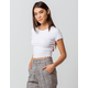 BOZZOLO Ribbed Lettuce Edge White Womens Crop Tee