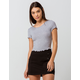 BOZZOLO Ribbed Lettuce Edge Heather Gray Womens Crop Tee