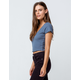 BOZZOLO Surplice Lettuce Edge Blue Womens Crop Tee