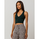 BOZZOLO Ribbed V-Neck Dark Green Womens Crop Tank Top