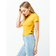 BOZZOLO Side Cut Out Mustard Womens Crop Tee