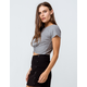 BOZZOLO Twist Front Heather Gray Womens Crop Tee