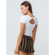 BOZZOLO Twist Back Cut Out White Womens Crop Tee