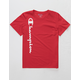 CHAMPION Vertical Script Red Boys T-Shirt