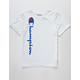 CHAMPION Vertical Script White Boys T-Shirt