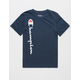 CHAMPION Vertical Script Navy Boys T-Shirt