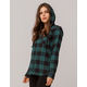 SKY AND SPARROW Buffalo Womens Hooded Flannel Shirt